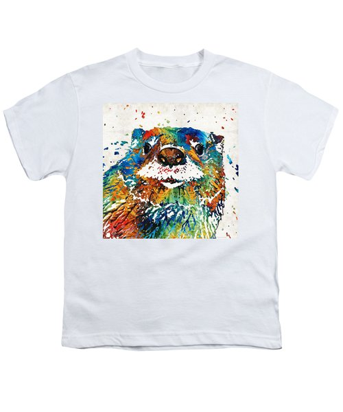 Otter Art - Ottertude - By Sharon Cummings Youth T-Shirt by Sharon Cummings