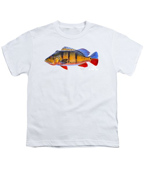 Peacock Bass Youth T-Shirt by Carey Chen