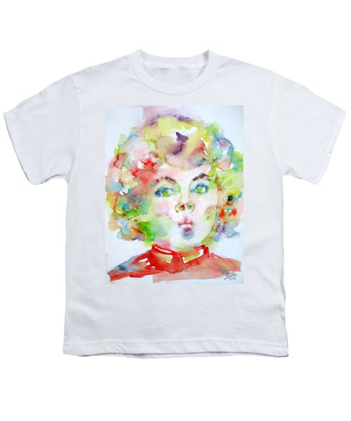 Shirley Temple - Watercolor Portrait.2 Youth T-Shirt by Fabrizio Cassetta