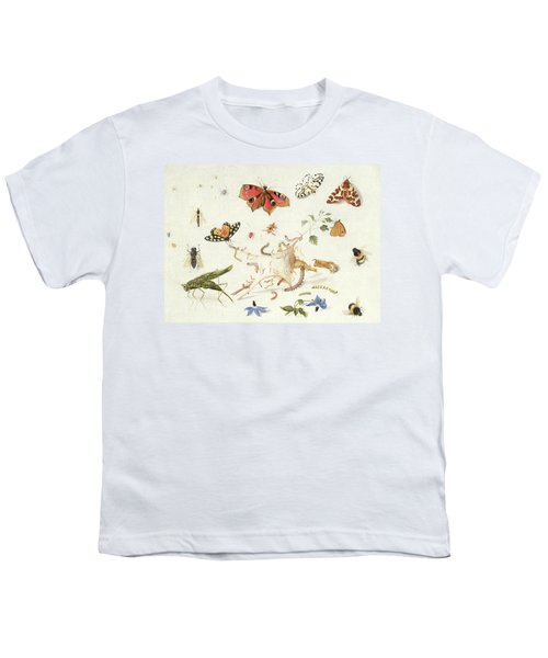 Study Of Insects And Flowers Youth T-Shirt by Ferdinand van Kessel