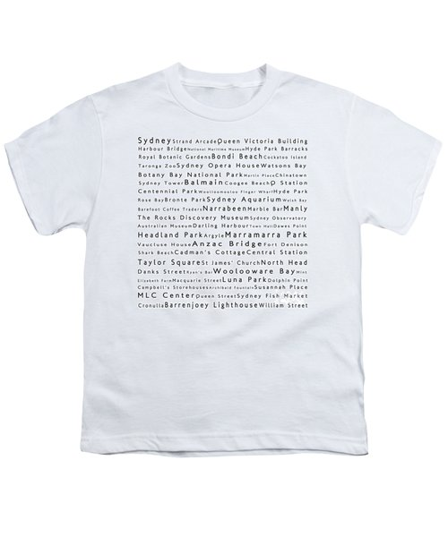 Sydney In Words White Youth T-Shirt by Sabine Jacobs