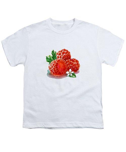 Three Happy Raspberries Youth T-Shirt by Irina Sztukowski