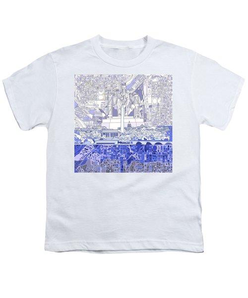Washington Dc Skyline Abstract 3 Youth T-Shirt by Bekim Art