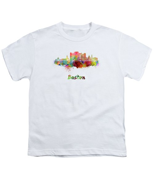 Boston Skyline In Watercolor Youth T-Shirt by Pablo Romero