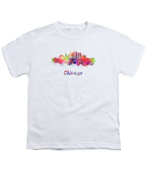 Chicago Skyline In Watercolor Youth T-Shirt by Pablo Romero