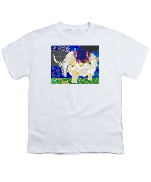 Stay Curious Cow Collage  Youth T-Shirt by Claudia Schoen