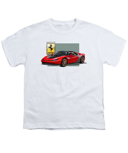 Ferrari Sergio With 3d Badge  Youth T-Shirt by Serge Averbukh
