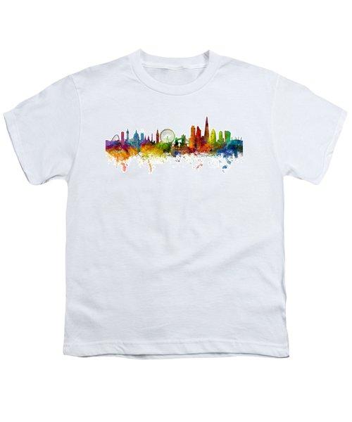 London England Skyline Panoramic Youth T-Shirt by Michael Tompsett