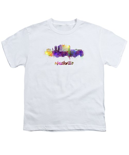 Nashville Skyline In Watercolor Youth T-Shirt by Pablo Romero