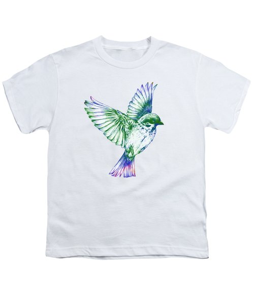 Textured Bird With Changeable Background Color Youth T-Shirt by Sebastien Coell