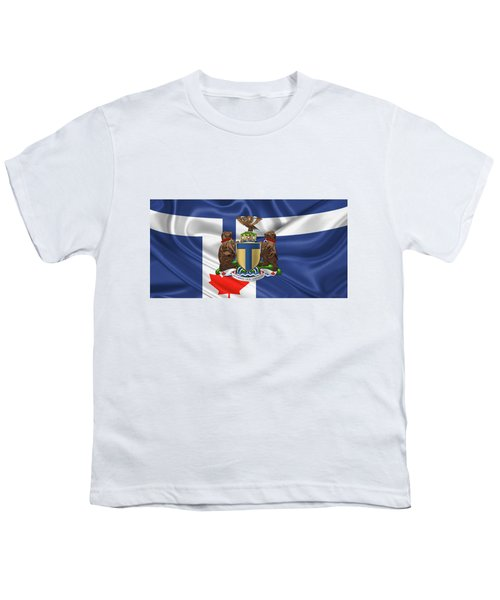 Toronto - Coat Of Arms Over City Of Toronto Flag  Youth T-Shirt by Serge Averbukh