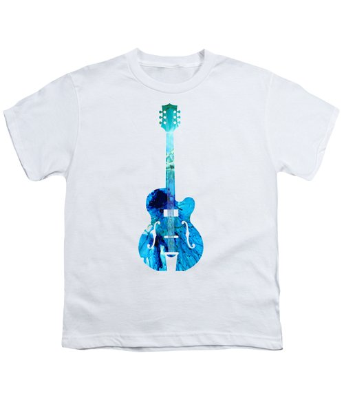 Vintage Guitar 2 - Colorful Abstract Musical Instrument Youth T-Shirt by Sharon Cummings