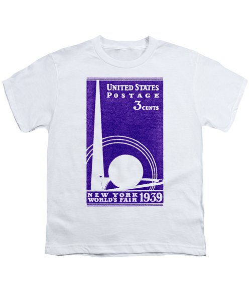 1939 New York Worlds Fair Stamp Youth T-Shirt by Historic Image