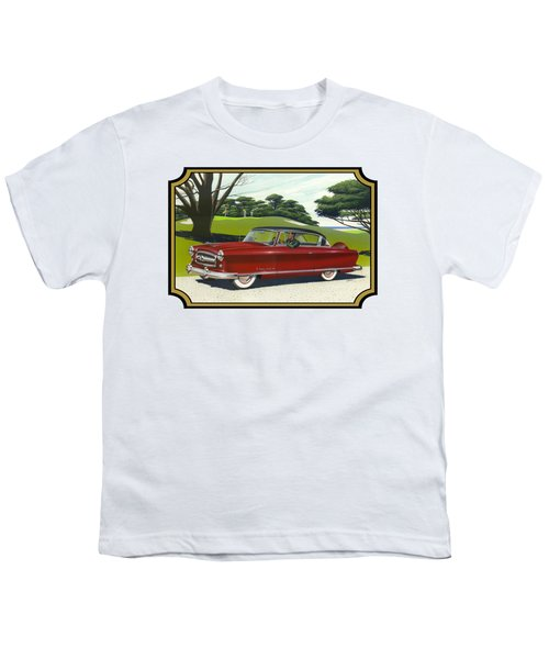 1953 Nash Rambler Car Americana Rustic Rural Country Auto Antique Painting Red Golf Youth T-Shirt by Walt Curlee