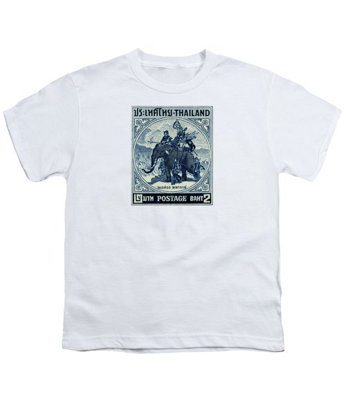 1955 Thailand War Elephant Stamp Youth T-Shirt by Historic Image