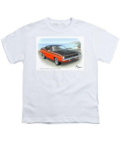 1970 Barracuda Aar  Cuda Classic Muscle Car Youth T-Shirt by John Samsen