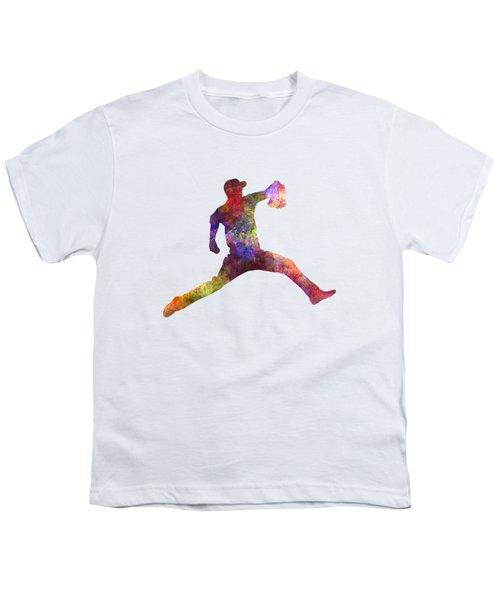 Baseball Player Throwing A Ball Youth T-Shirt by Pablo Romero