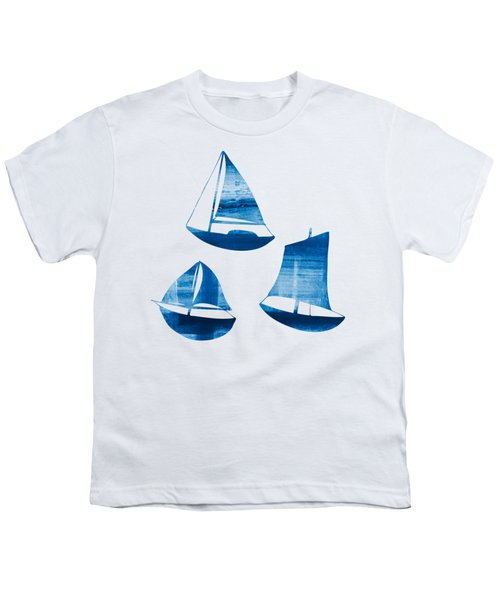 3 Little Blue Sailing Boats Youth T-Shirt by Frank Tschakert