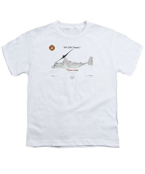 Bell Boeing Mv-22b Osprey Youth T-Shirt by Arthur Eggers