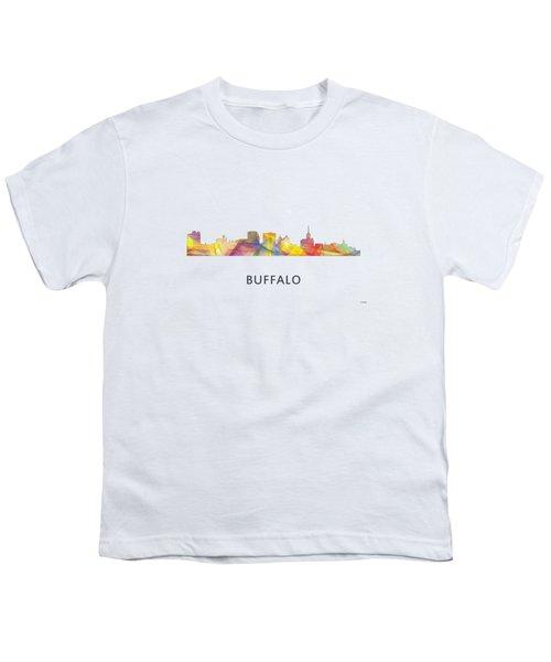 Buffalo New York Skyline Youth T-Shirt by Marlene Watson