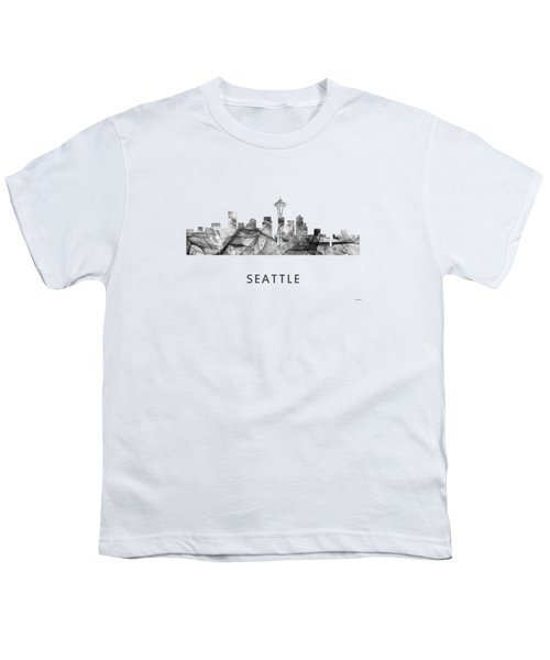 Seattle Washington Skyline Youth T-Shirt by Marlene Watson