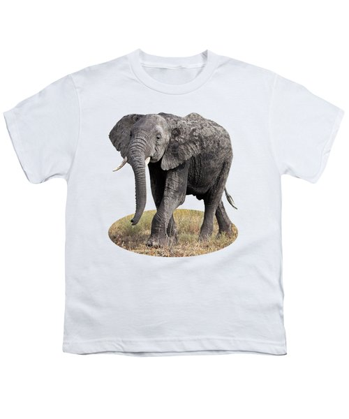 African Elephant Happy And Free Youth T-Shirt by Gill Billington