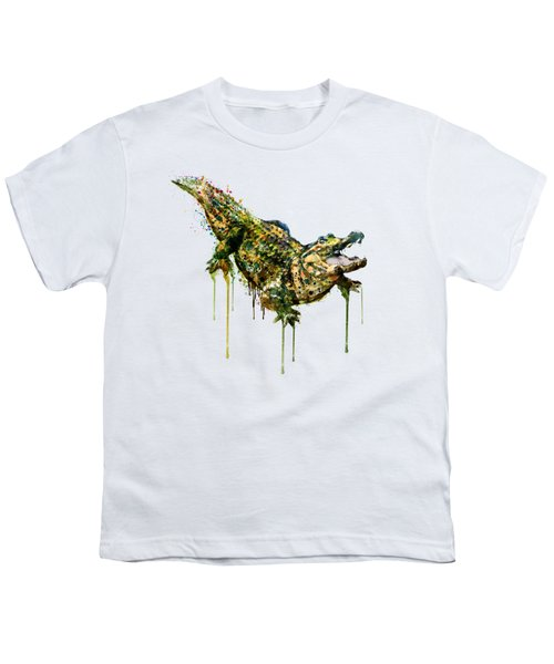 Alligator Watercolor Painting Youth T-Shirt by Marian Voicu