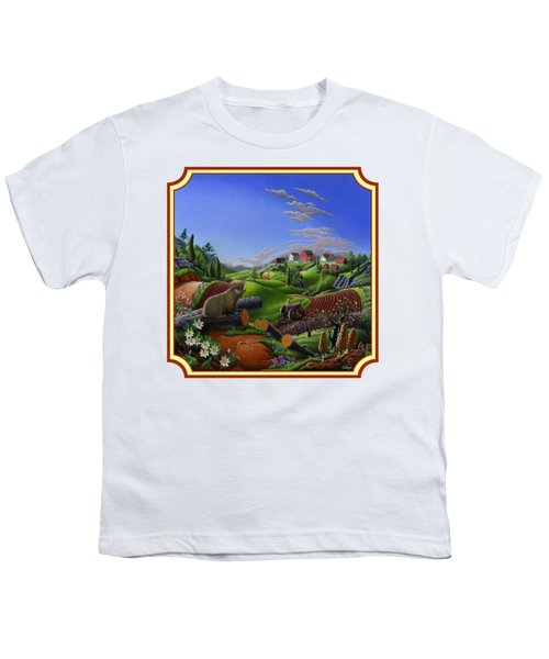 Americana Decor - Springtime On The Farm Country Life Landscape - Square Format Youth T-Shirt by Walt Curlee