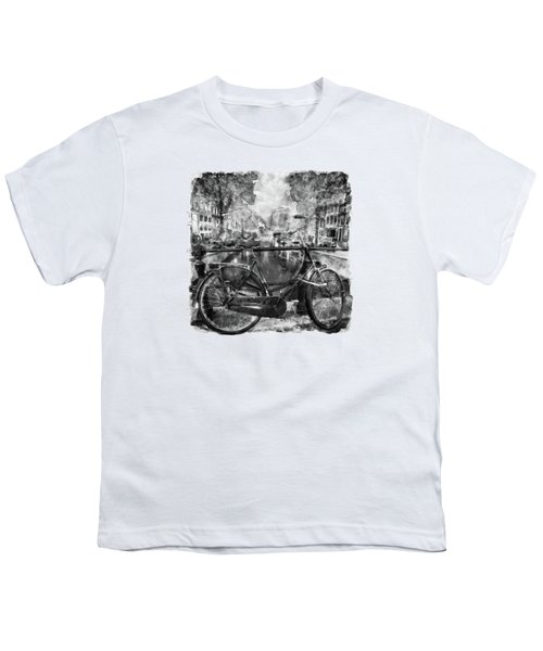 Amsterdam Bicycle Black And White Youth T-Shirt by Marian Voicu