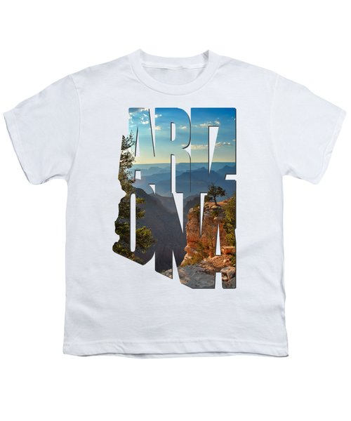 Arizona Typography - Sun Setting On Grand Canyon Youth T-Shirt by Gregory Ballos