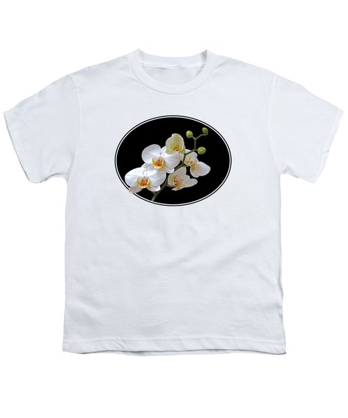 White Orchids On Ocean Blue Youth T-Shirt by Gill Billington