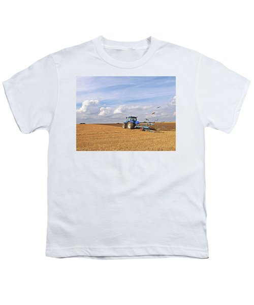 Ploughing After The Harvest Youth T-Shirt by Gill Billington