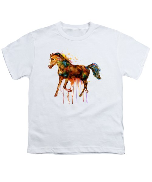 Watercolor Horse Youth T-Shirt by Marian Voicu
