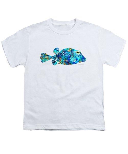 Blue Puffer Fish Art By Sharon Cummings Youth T-Shirt by Sharon Cummings