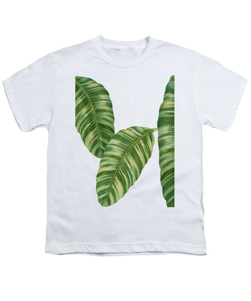 Rainforest Resort - Tropical Banana Leaf  Youth T-Shirt by Audrey Jeanne Roberts