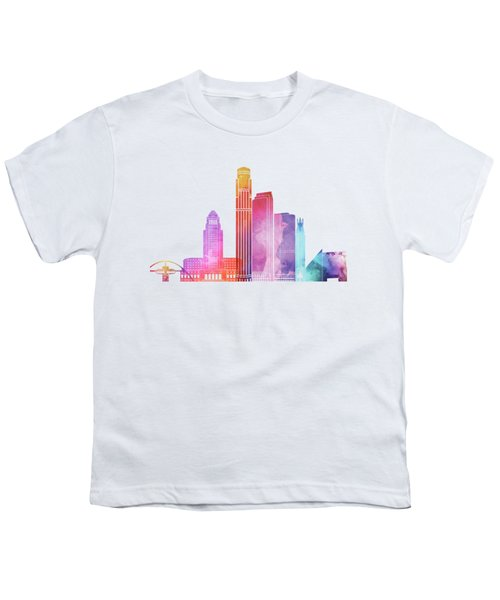 Los Angeles Landmarks Watercolor Poster Youth T-Shirt by Pablo Romero