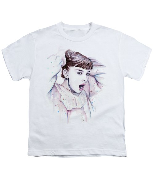 Audrey - Purple Scream Youth T-Shirt by Olga Shvartsur