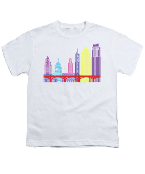Austin Skyline Pop Youth T-Shirt by Pablo Romero