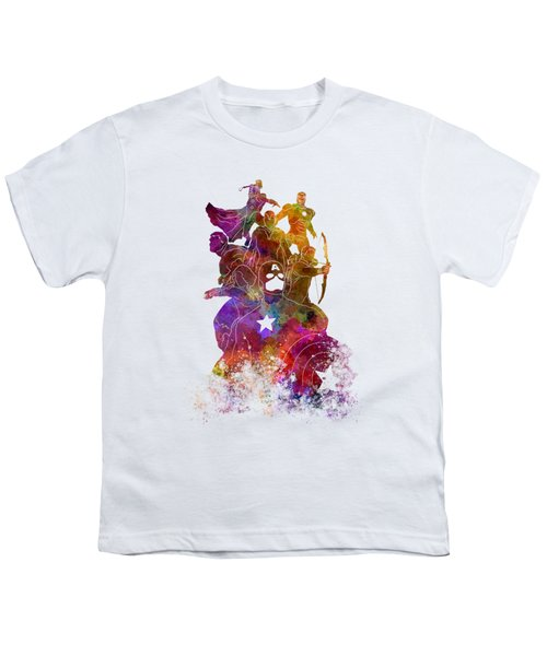 Avengers 02 In Watercolor Youth T-Shirt by Pablo Romero