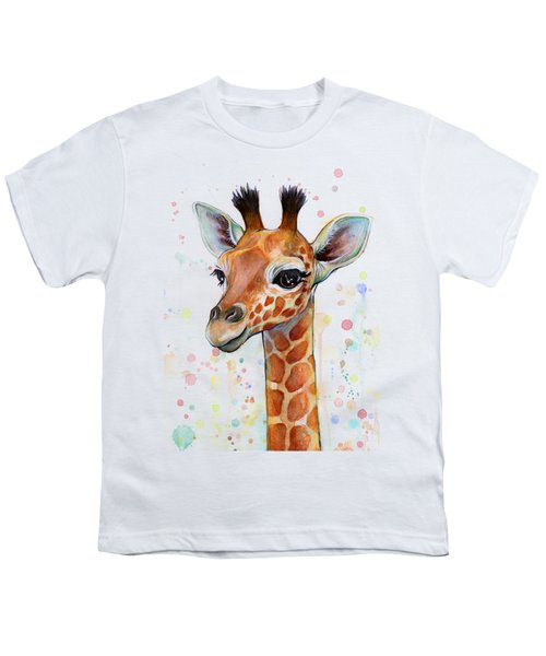 Baby Giraffe Watercolor  Youth T-Shirt by Olga Shvartsur