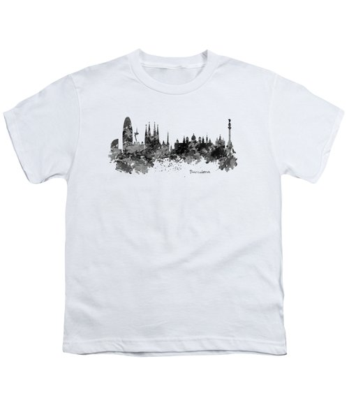 Barcelona Black And White Watercolor Skyline Youth T-Shirt by Marian Voicu