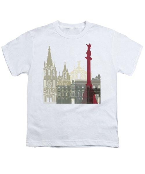 Barcelona Skyline Poster Youth T-Shirt by Pablo Romero