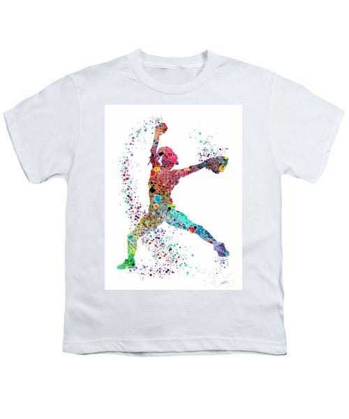 Baseball Softball Pitcher Watercolor Print Youth T-Shirt by Svetla Tancheva