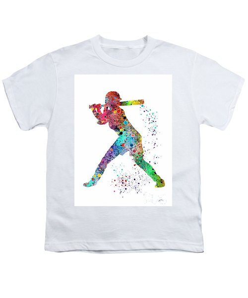 Baseball Softball Player Youth T-Shirt by Svetla Tancheva