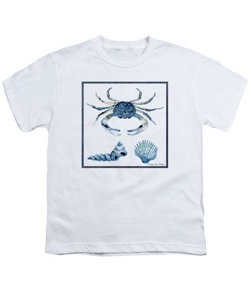 Beach House Sea Life Crab Turban Shell N Scallop Youth T-Shirt by Audrey Jeanne Roberts