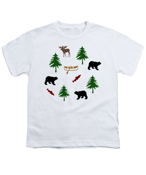 Bear Moose Pattern Youth T-Shirt by Christina Rollo