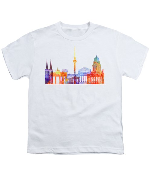Berlin Landmarks Watercolor Poster Youth T-Shirt by Pablo Romero