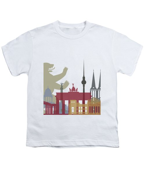 Berlin Skyline Poster Youth T-Shirt by Pablo Romero