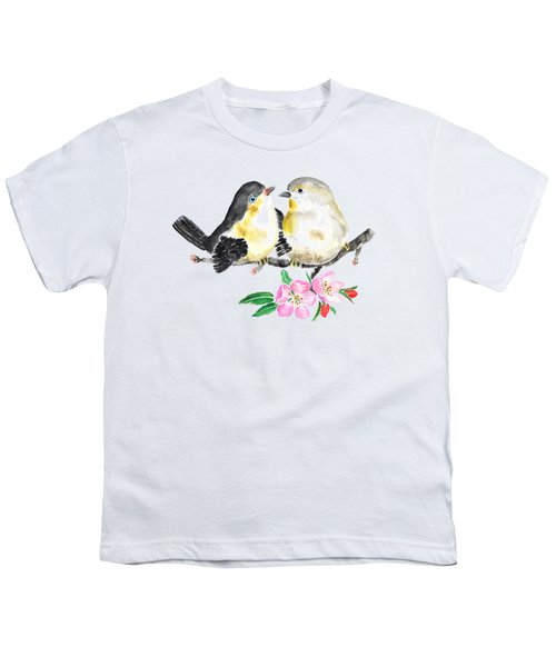 Birds And Apple Blossom Youth T-Shirt by Color Color