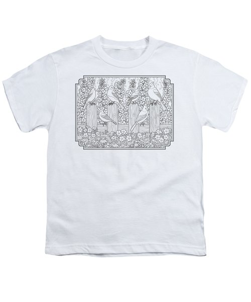 Birds In Flower Garden Coloring Page Youth T-Shirt by Crista Forest